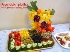 flowers carved in vegetables