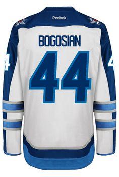 ... White Winnipeg Jets Zach BOGOSIAN 44 Official Away Reebok Premier  Replica NHL Hockey Jersey (HAND ... 218708db1