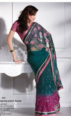 Khazanakart Heavy Worked Saree Net Saree in Tusher, Blue and Chocolate Color