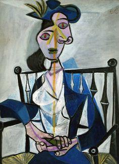 Pablo Picasso - Sitzende Frau (Dora Maar), 1941 at Pinakothek der Moderne Munich Germany.Dora Maar was born Henriette Théodora Markovitch in Paris, France, on November Art Picasso, Picasso Portraits, Picasso Paintings, Cubist Portraits, Dora Maar, Cubist Movement, Georges Braque, Art Moderne, Oeuvre D'art