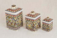 Canisters from Coimbra, Portugal // hand-painted ceramic pottery // eBay