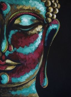 """ARTFINDER: BUDDHA COLORED FACE PAINTING 9"""" X 12"""" by CYRA CANCEL - BEAUTIFUL COLORED BUDHHA FACE. PAINTED IN BLACK ARTIST PAPER WITH ACRYLICS, AND GOLD INK. THE PAINTING IS SOLD UNFRAMED. SIGNED AS CY IN THE FRONT.  SIGN..."""