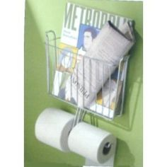 Chrome Wall Mount Magazine Rack Storage Bathroom Bath Toilet Paper Holder New Ebay