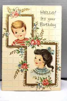 1960s Birthday Greeting Card Vintage Boy Girl Frame Quarter Fold Matthew 22:37