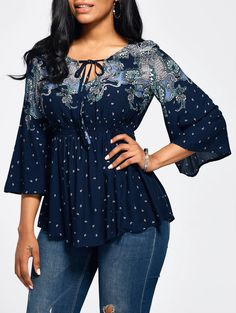 Vintage Women Blouse T Shirt Tops Print Empire Waist Flare Sleeve Casual Boho Bluse, Empire Waist Tops, Modelos Fashion, Blouse Vintage, Top Vintage, Printed Blouse, Types Of Sleeves, Blouses For Women, Vintage Ladies