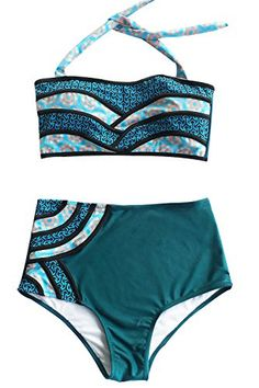 c985f3cc35 Traverse the tides in style with Cupshe Seascape Painting Halter Bikini  Set.Product Code: Details: Splicing fabric Back hook closure High-waisted  fit Wit