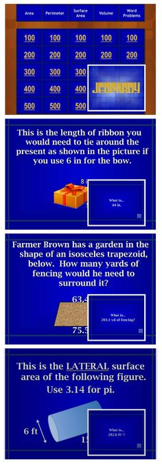 26 best teacher stuff images on pinterest powerpoint lesson jeopardy review game for area perimeter surface area and volume including word problems fandeluxe Image collections