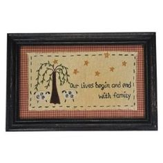 Primitive Country Rustic Sheep & Willow Tree Family Sampler $18.99