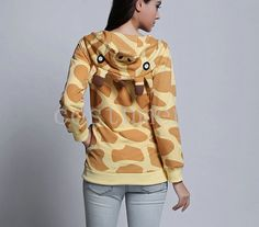 Giraffe Hoodie Giraffe Print Hooded Slim Giraffe Cosplay Costume with Ears Zip Up Cotton Sweatshirt Sweater Coat Cardigan on Etsy, $19.99