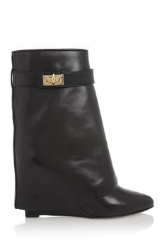 Givenchy|Shark Lock black leather wedge ankle boots.