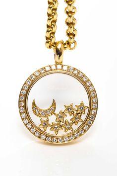 Vintage Chopard 18K Yellow Gold Happy Diamond Pendant Necklace - http://amzn.to/2goDS3g