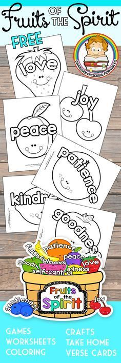 Cute Fruits of the Spirit Bible Coloring Pages for Kids. Great for Christian Preschool or Sunday School Classroom Cute Fruits of the Spirit Bible Coloring Pages for Kids. Great for Christian Preschool or Sunday School Classroom Sunday School Classroom, Sunday School Activities, Sunday School Lessons, Sunday School Crafts, School Staff, Preschool Bible Lessons, Bible Lessons For Kids, Bible Activities, Preschool Activities