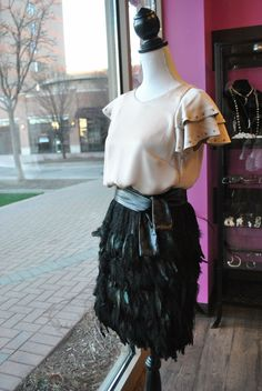 520be93577f NEW HOLIDAY LOOK BLACK FEATHERS SKIRT AND NEW CHAMPAGNE TOP SHOP OLINE AT  www.LeObsession.com. Teresa Habczyk · OBSESSION BOUTIQUE