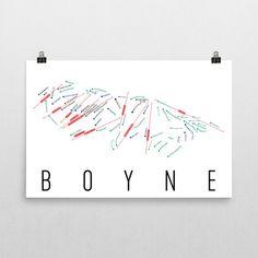 Boyne Ski Map Art, Boyne MI, Boyne Trail Map, Boyne Ski Resort Print, Boyne Poster, Art, Gift