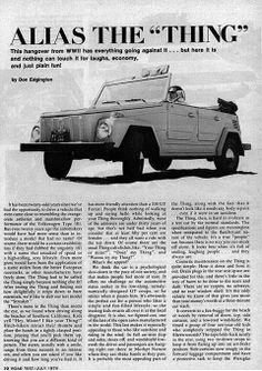 Tabloids all over Europe & the US celebrating VW's new wunderkind, the VW Thing aka VW Safari.