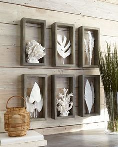 :) Add awesome white sculptures I can make my own shadow boxes for the porch wall much cheaper!Coral+&+Leaf+Shadowbox+Sculptures+at+Horchow. Cheap Home Decor, Diy Home Decor, Tableau Design, Outdoor Wall Art, Outdoor Walls, Outdoor Decor, Deco Originale, Beach Crafts, Shell Crafts