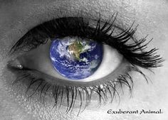 Woman's eye-iris is the earth globe