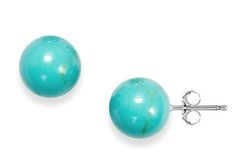 Sterling Silver Genuine Turquoise Ball Studs    Be Unique With This Twist On The Classic Ball Studs!    93% OFF