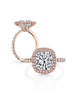 """Eva Rose Duo by Jean Dousset, #exclusive to the La Vie en Rose™ #luxury diamond engagement ring collection at Jean Dousset Diamonds - JeanDousset.com - shown with a Cushion Cut diamond and set in 18K Rose Gold. Exclusively available at Jean Dousset Diamonds, """"La Vie en Rose™"""" is a collection boasting rare Fancy pink diamonds from the world's premiere Argyle Diamond Mine in Western Australia // More from Jean Dousset: http://www.theknot.com/gallery/wedding-rings/Jean Dousset"""