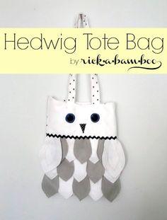 Hedwig Tote Bag | rickabamboo.com | #harrypotter #owl @Jennifer Smyth I think your child needs this…