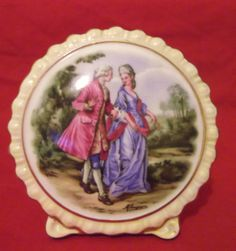 Coalport Miniature Plaque, Courting Couple