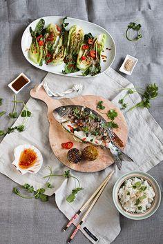 Asian spiced seabream, coconut rice, bok choy in sesame sauce  Dorade Asia Style mit Kokos-Reis und Pak Choi in Sesam-Sauce | seelenschmeichelei.blogspot.de