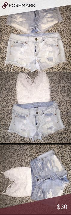 2 pairs of American eagle destroyed shorts. Perfect condition.  Super sexy distressed look. One stretch one regular.  Both size 6. American Eagle Outfitters Shorts