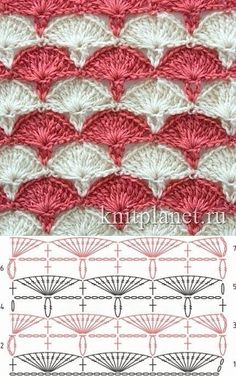 Crochet Blanket Pattern Diagram Charts Ideas – Awesome Knitting Ideas and Newest Knitting Models Crochet Shell Stitch, Crochet Chart, Crochet Stitches Patterns, Crochet Diagram, Crochet Motif, Crochet Designs, Free Crochet, Stitch Patterns, Diy Crafts Crochet