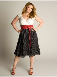 I want to wear this with red Mary Janes that have a kitten heel. Millie Vintage Polka Dot Dress