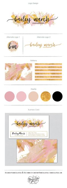 Modern artistic premade branding kit featuring hand painted acrylic brush strokes painting in nude and blush, glitter and gold foil for a touch of glam! Perfect for photography branding, photographer, boutique, bloggers Find it here: https://www.etsy.com/listing/268401541