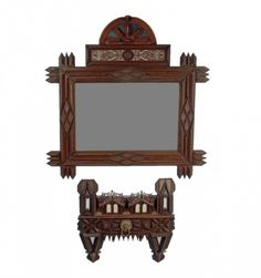 Fanciful Mirror with House Shaped Companion Shelf