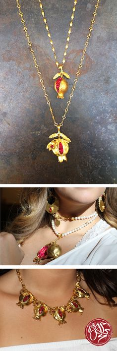 Our Pomegranate Collection captures the deep red of a pomegranate using dyed jade gemstones. Complementing this strong color with gold-plated brass makes for dazzling pieces of handmade jewelry. #GypsyJewelry Free shipping. Free returns. For the free spirited.