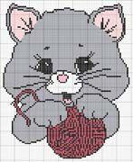 Cat and yarn Ball x-stitch Intarsia Knitting, Intarsia Patterns, Knitting Charts, Baby Knitting, Cross Stitch Patterns, Knitting Patterns, Crochet Patterns, Margarita Crochet, Hamma Beads Ideas
