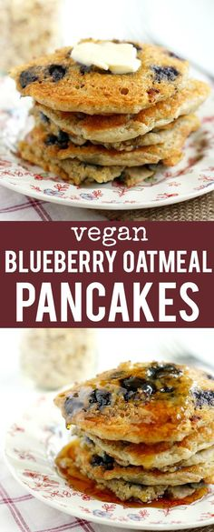 These vegan blueberry oatmeal pancakes are so delicious! The perfect ...