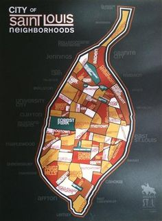 City of St Louis Neighborhoods poster