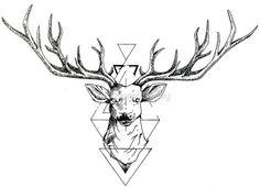 'Geometric Deer' Photographic Print by DarkHorseBailey Deer Skull Tattoos, Antler Tattoos, Hunting Tattoos, Brain Tattoo, 1 Tattoo, Elbow Tattoos, Hand Tattoos, Aquarell Wolf Tattoo, Cervo Tattoo