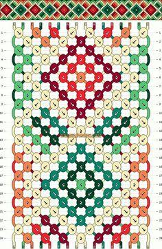 Štvorčeky červeno-zeleno-béžové - 16 nití