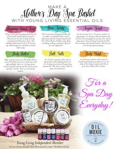 """What could be better than homemade gifts for Mom to have her own """"day at the spa""""?! Here are six recipes using Young Living essential oils to make a basket full of spa gifts for Mother's Day. So Mom can have a Spa Day Everyday! Need to order Young Living essential oils? Visit me here --> http://essentialoilsobsessed.com/mothersday/"""