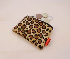 Beautiful Leopard Print Fabric Coin Purse - Free P £5.00