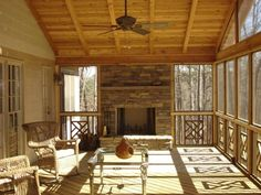 screened porch with fireplace & railing design (would be perfect if it was all white!)