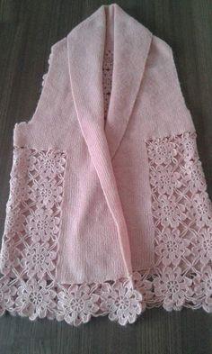 Gradient Baby Vest Making - Örgü El İşleri Gilet Crochet, Crochet Jumper, Crochet Lace, Knitting Patterns Free, Free Knitting, Crochet Patterns, Vest Pattern, Lace Scarf, Crochet Woman