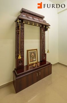 Traditional Carved Wooden Puja Mandir/ Hindu home temple with Brassbells and cabinets by Furdo