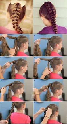 ~This is new interesting way to braid your hair~ I just love it. It looks really nice and very stylish. **Here are the steps** 1. Make a ponytail. Separate the hair into two parts. Take the upper section of the hair and add an elastic as shown at picture 2. Then make a hole in the middle of that small part between the two elastics and pull through the hole the down section of the hair . Secure with elastic and repeat the same steps again. It looks complicated, but it 's not . Once you try…