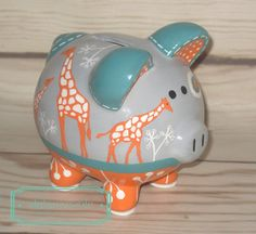 SMALL Ikat Giraffe artisan hand painted ceramic personalized piggy bank Turquoise, teal, orange and grey giraffe