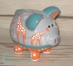 Orange grey turquoise Ikat giraffe Custom hand painted ceramic personalized piggy by Alphadorable, $40.00
