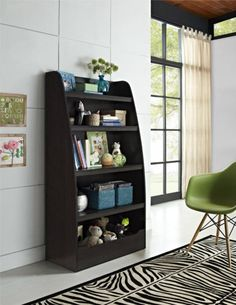 Bookcase For Kids Teens 4 large Shelves Bedroom Toys Shoes Storage Bins Brown - http://home-garden.goshoppins.com/furniture/bookcase-for-kids-teens-4-large-shelves-bedroom-toys-shoes-storage-bins-brown/