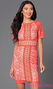 Buy High Neck Short Lace Dress JD4940 at PromGirl