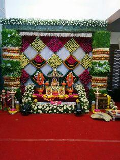 Desi Wedding Decor, Wedding Stage Decorations, Backdrop Decorations, Diwali Decorations, Festival Decorations, Flower Decorations, Party Backdrops, Wedding Ideas, Flower Garland Wedding