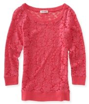 #3/4 #Sleeve #Lace #Woven #Crew #Tee - #Aéropostale®