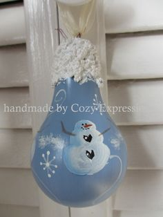 Bulbs Snowman Light Bulb Ornament by josie Painted Ornaments, Diy Christmas Ornaments, Christmas Fun, Christmas Decorations, Lightbulb Ornaments, Christmas Design, Lightbulbs, Snowman Crafts, Christmas Projects